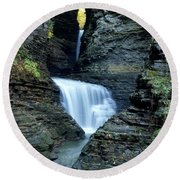 Three Falls In Watkins Glen Round Beach Towel