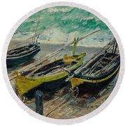 Three Fishing Boats Monet 1886 Round Beach Towel