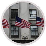 Three Flags Together On 5th Avenue Round Beach Towel