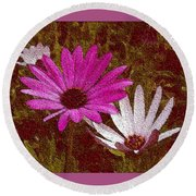 Three Flowers On Maroon Round Beach Towel