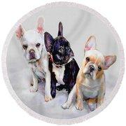Three Frenchie Puppies Round Beach Towel by Jane Schnetlage