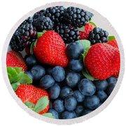 Three Fruit 2 - Strawberries - Blueberries - Blackberries Round Beach Towel