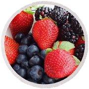 Three Fruit - Strawberries - Blueberries - Blackberries Round Beach Towel by Barbara Griffin