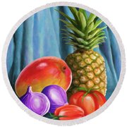 Three Fruits And A Vegetable Round Beach Towel