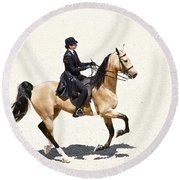 Three Gaited Buckskin Round Beach Towel