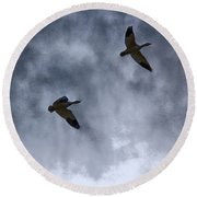 Three Geese Round Beach Towel