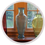 Three Glass Vases In A Window Round Beach Towel
