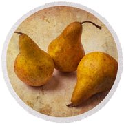Three Golden Pears Round Beach Towel