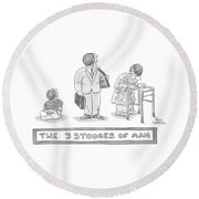 Three Images Of A Baby Round Beach Towel by Paul Karasik