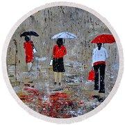 Three In The Rain Round Beach Towel