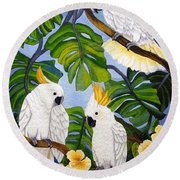 Three Is A Crowd Hand Embroidery Round Beach Towel
