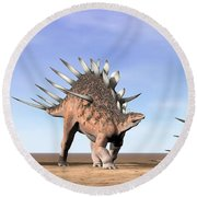 Three Kentrosaurus Dinosaurs Standing Round Beach Towel by Elena Duvernay