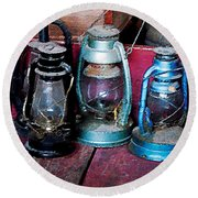 Three Kerosene Lamps Round Beach Towel