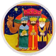 Three Kings And Camel Round Beach Towel