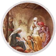 Three Kings Worship Christ Round Beach Towel by William Brassey Hole