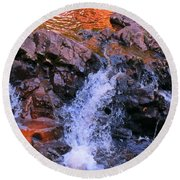 Three Little Forks In The Waterfall Round Beach Towel