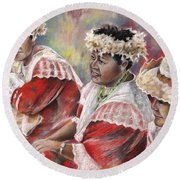 Three Mamas From Tahiti Round Beach Towel
