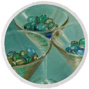 Three Martini Glasses With Jewels Round Beach Towel