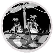 Three Maskers In  Black And White Round Beach Towel
