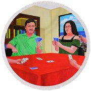 Three Men And A Lady Playing Cards Round Beach Towel
