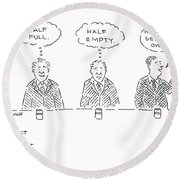 Three Men Sit At A Bar With Drinks. The First Round Beach Towel by Robert Mankoff