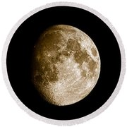 Three Moons No2 Round Beach Towel