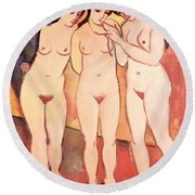 Three Naked Girls Round Beach Towel