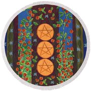 Three Of Pentacles Round Beach Towel
