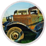 Three Old Fords Round Beach Towel