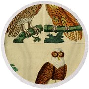 Three Owls Round Beach Towel