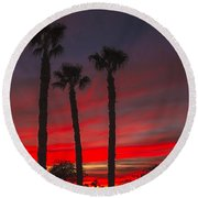 Three Palm Sunset Round Beach Towel