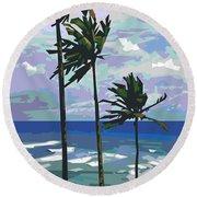 Three Palms Round Beach Towel