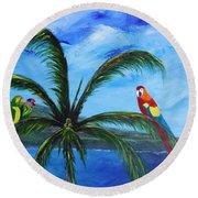 Three Parrots Round Beach Towel