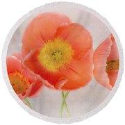 Three Peach Poppies Round Beach Towel