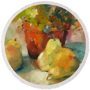 Three Pears And A Pot Round Beach Towel by Michelle Abrams