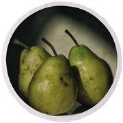 Three Pears Green Round Beach Towel