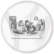 Three People Are Sitting In A Living Room Round Beach Towel by Zachary Kanin