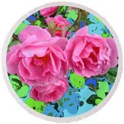 Three Pink Roses By M.l.d.moerings 2010 Round Beach Towel