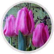 Three Pink Tulips Round Beach Towel