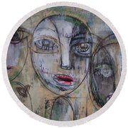 Three Portraits On Paper Round Beach Towel