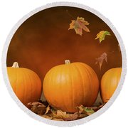 Three Pumpkins Round Beach Towel by Amanda Elwell