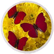 Three Red Butterflys Round Beach Towel by Garry Gay