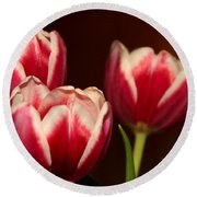 Three Red Tulips Round Beach Towel