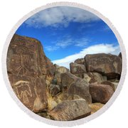 Three Rivers Petroglyphs 2 Round Beach Towel