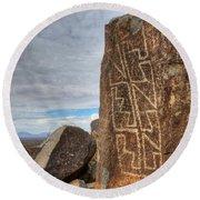 Three Rivers Petroglyphs 4 Round Beach Towel
