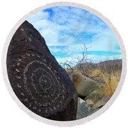 Three Rivers Petroglyphs 5 Round Beach Towel