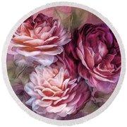 Three Roses Burgundy Greeting Card Round Beach Towel