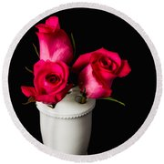 Three Roses Round Beach Towel