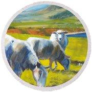 Three Sheep On A Devon Cliff Top Round Beach Towel