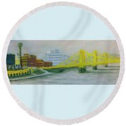 Three Sisters At Pnc Park Round Beach Towel